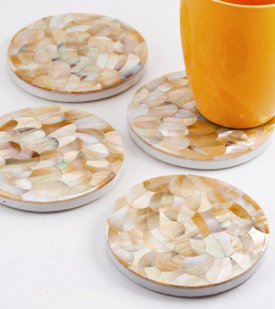 Amalgam Hand-carved Playful Petal Motif Stone Square Coasters - set of 4