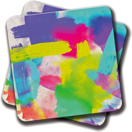 Amey Abstract Neon Coasters - set of 2