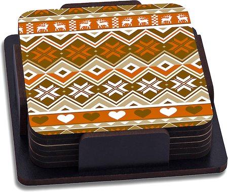 ThinNFat Deer Tribal Printed Coasters - set of 6
