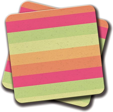 Amey Pastel Orange Pink Green Stripes Summer Pattern Coasters - set of 2