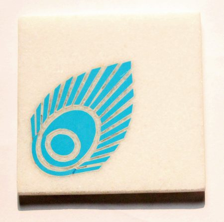 Amalgam Hand-carved Playing Peacock Motif Stone Square Coasters - set of 4