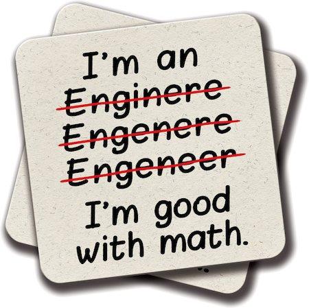 Amey I'm an Engineer I'm Good at Math Coasters - set of 2