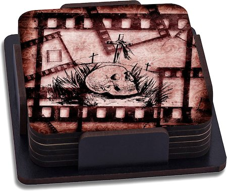 ThinNFat Skull Grave Printed Coasters - set of 6