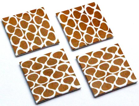 Amalgam Hand-carved Crafting Tradition Design 2 Motif Stone Square Coasters - set of 4