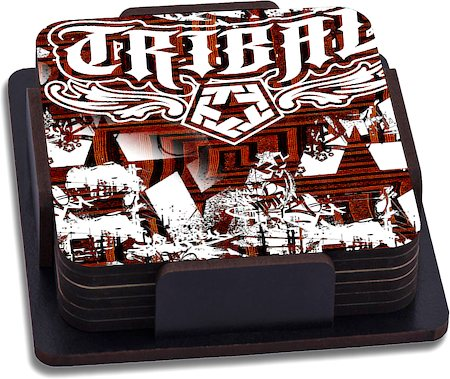 ThinNFat Graffiti Smash Tribal Printed Coasters - set of 6