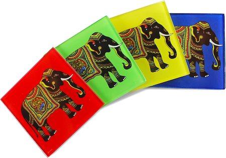 Kolorobia Silhouette of Elephant Wooden Coasters - set of 4
