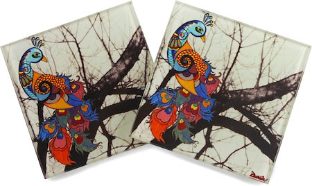 Kolorobia Unique Peacock Glass Coasters - set of 4
