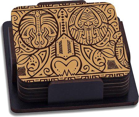 ThinNFat Maori Art Printed Coasters - set of 6