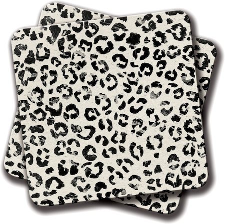Amey White Marble Stylish Leopard Pattern Coasters - set of 2