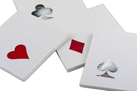 Amalgam Hand-crafted Card Play White Marble Coasters - set of 4