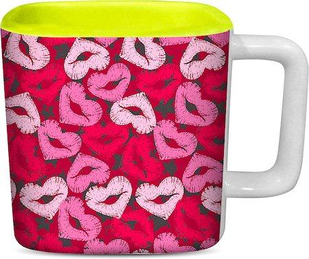 ThinNFat Lips Heart Printed Designer Square Mug - Light Green