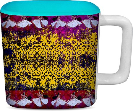 ThinNFat Sufi Design Printed Designer Square Mug - Sky Blue