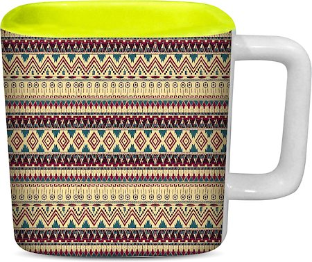 ThinNFat Brown Feather Tribal Printed Designer Square Mug - Light Green