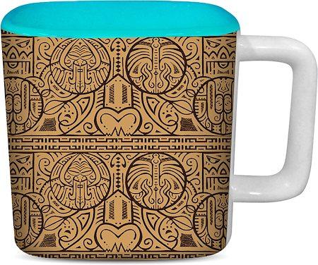 ThinNFat Maori Art Printed Designer Square Mug - Sky Blue