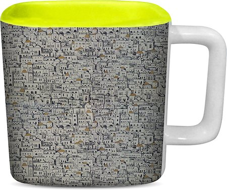 ThinNFat Slum City Printed Designer Square Mug - Light Green