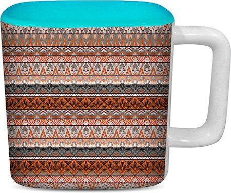 ThinNFat Aztec Design Printed Designer Square Mug - Sky Blue