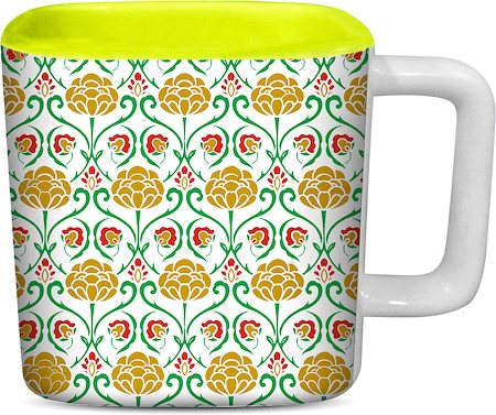 ThinNFat Cute Floral Printed Designer Square Mug - Light Green