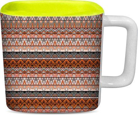 ThinNFat Aztec Design Printed Square Mug - Light Green