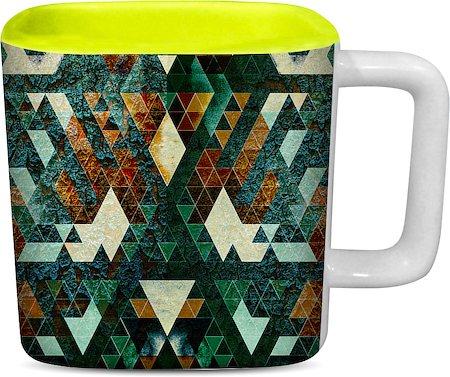 ThinNFat Hardrock Printed Designer Square Mug - Light Green