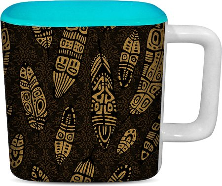 ThinNFat Tribal Feather Printed Designer Square Mug - Sky Blue