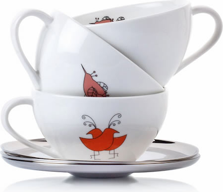 Arttdinox Bird Range White Ceramic Cup and Saucer - set of 4