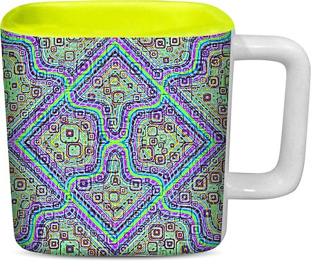 ThinNFat Pycadelic Fusion Printed Designer Square Mug - Light Green