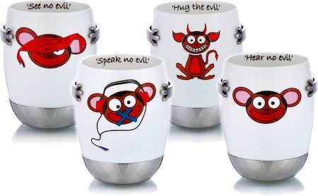 Arttdinox See No Evil Mug - set of 4