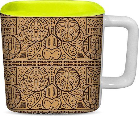 ThinNFat Maori Art Printed Designer Square Mug - Light Green