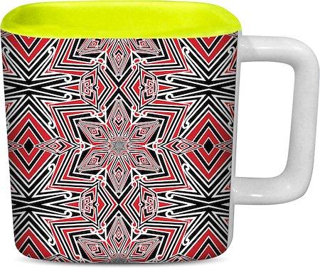 ThinNFat Kaleidoscope Fusion Printed Designer Square Mug - Light Green