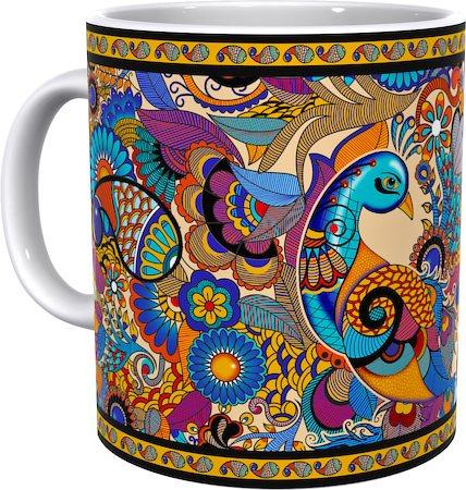 Kolorobia Graceful Peacock Illustration Classic White Mug
