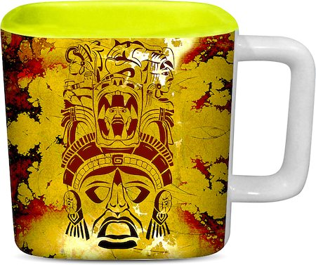 ThinNFat African Pattern Printed Designer Square Mug - Light Green