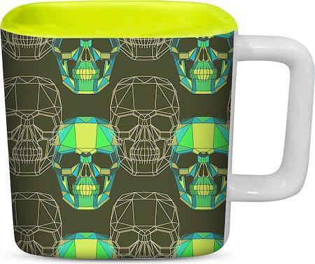 ThinNFat Wireframe Skull Printed Designer Square Mug - Light Green