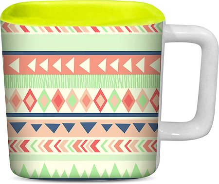 ThinNFat Running Tribal Printed Designer Square Mug - Light Green
