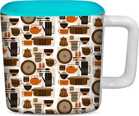 ThinNFat Crockeries Printed Designer Square Mug - Sky Blue