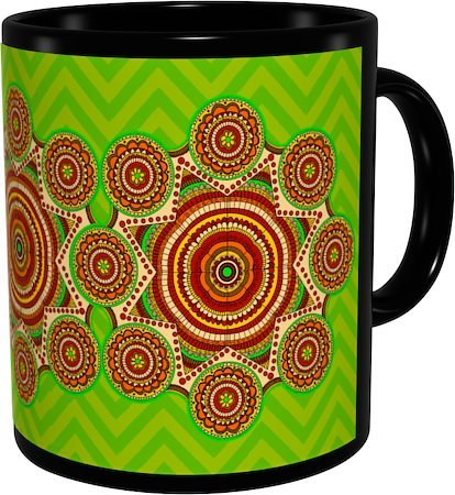 Kolorobia Lime Green Madhubani Classic Black Mug