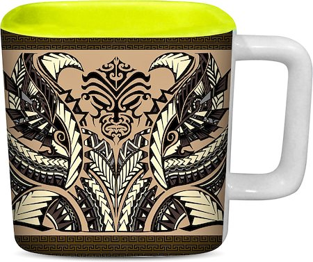 ThinNFat Devil Art Printed Designer Square Mug - Light Green