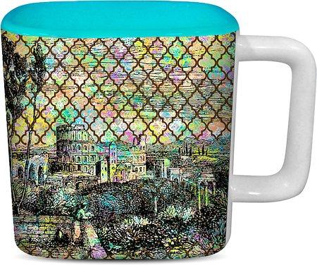 ThinNFat Rangella Qilla Printed Designer Square Mug - Sky Blue