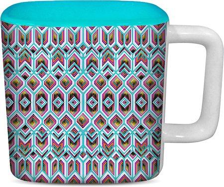 ThinNFat Rangeela Chatta Printed Designer Square Mug - Sky Blue