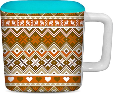 ThinNFat Deer Tribal Printed Designer Square Mug - Sky Blue