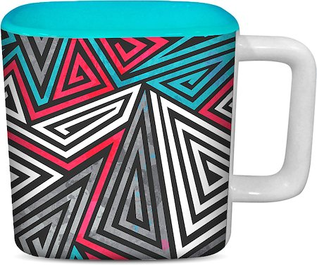 ThinNFat Trio Pattern Printed Designer Square Mug - Sky Blue