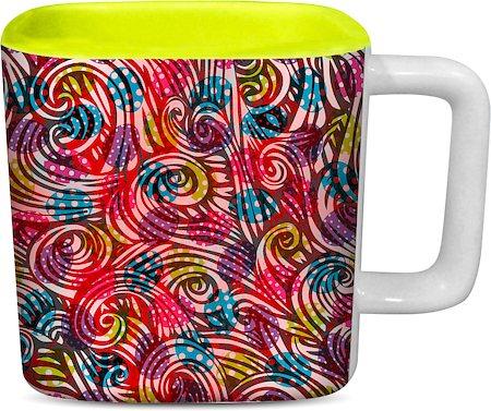 ThinNFat Colourful-Egg Printed Designer Square Mug - Light Green