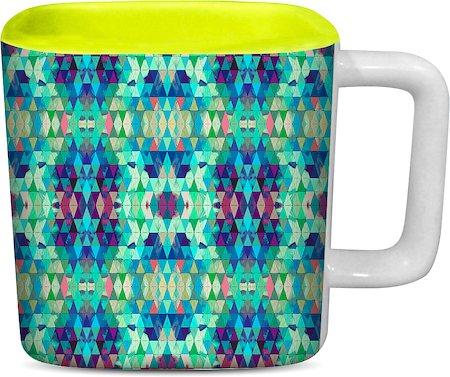 ThinNFat Crystal Kaleidoscope Printed Designer Square Mug - Light Green