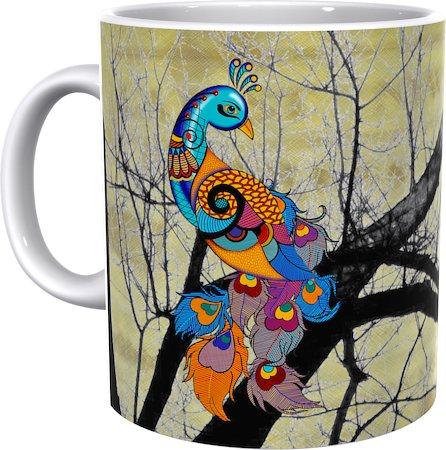 Kolorobia Divine Beauty Peacock Potrait Classic White Mug
