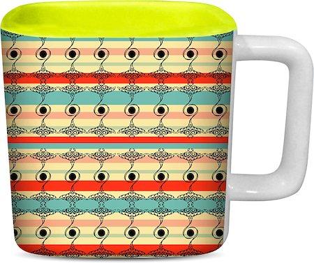 ThinNFat Folk Abstract Geometric Printed Designer Square Mug - Light Green