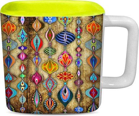 ThinNFat Rajasthani Hangings Printed Designer Square Mug- Light Green