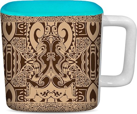 ThinNFat Tikki Design Printed Designer Square Mug - Sky Blue