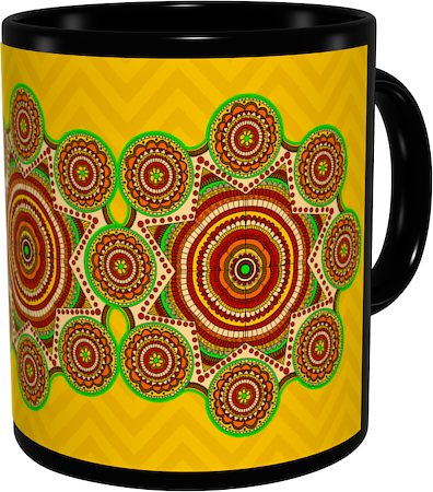 Kolorobia Madhubani with Yellow Aura Classic Black Mug