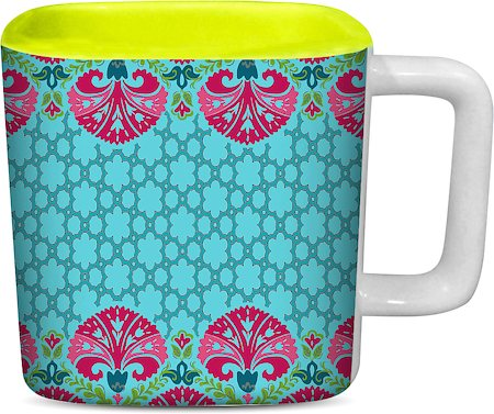ThinNFat Quatrefoil Floral Printed Designer Square Mug - Light Green