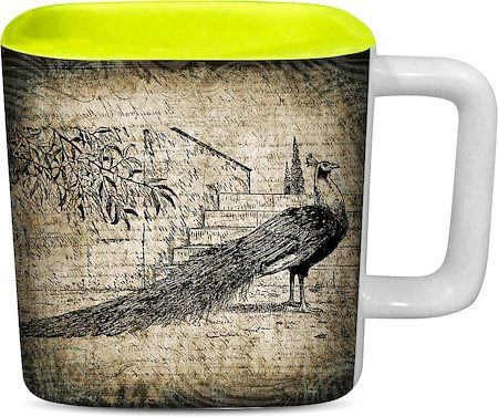 ThinNFat Black Peacock Printed Designer Square Mug - Light Green