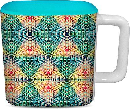 ThinNFat Trance Fusion Printed Designer Square Mug - Sky Blue